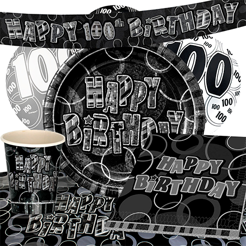 black-glitz-100th-birthday-party-supplies-8-person-deluxe-party-pack