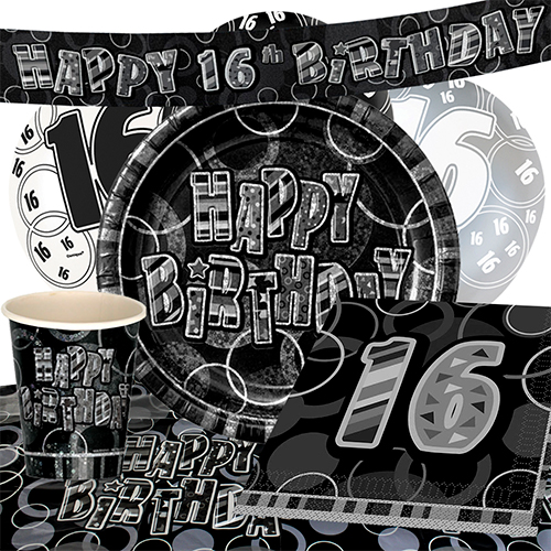 Black Glitz 16th Birthday 8 Person Deluxe Party Pack