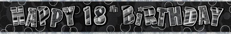 Black Glitz 18th Birthday Prismatic Banner –274cm