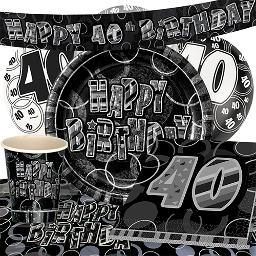 Black Glitz 40th Birthday Party Supplies 8 Person
