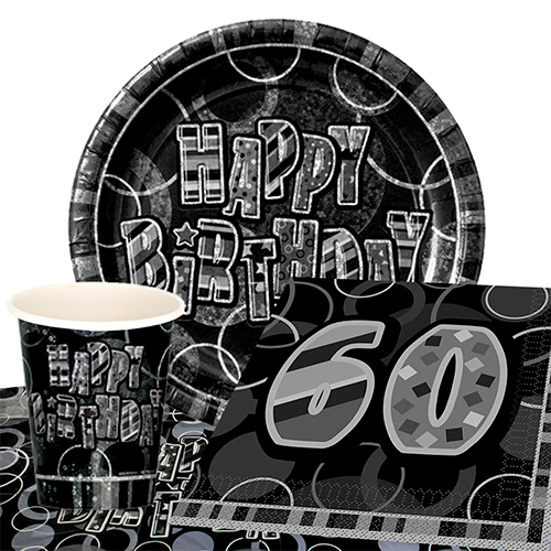 Black Glitz 60th Birthday 8 Person Value Party Pack