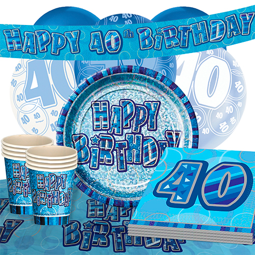Blue Glitz 40th Birthday Party Supplies 16 Person