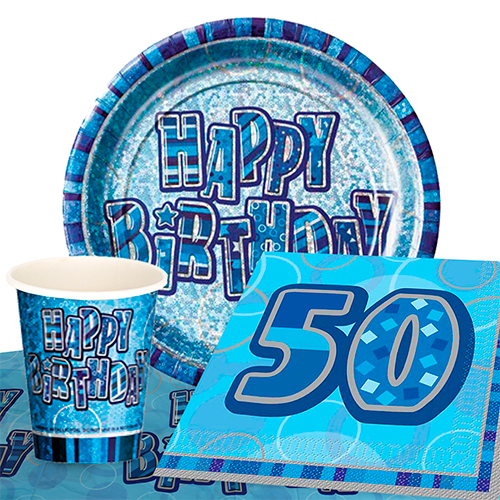 Blue Glitz 50th Birthday 8 Person Value Party Pack