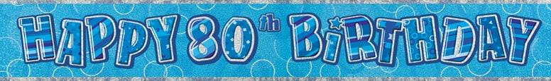 Blue Glitz 80th Birthday Prismatic Banner  274cm