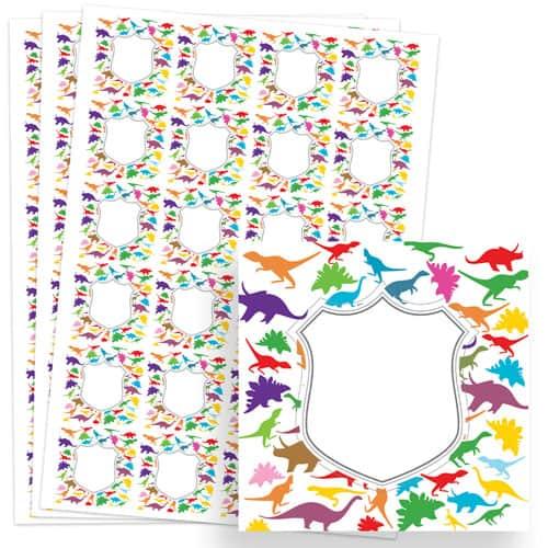 Dinosaur Design 40mm Square Sticker sheet of 24