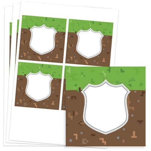 Pixels Design 95mm Square Sticker sheet of 4