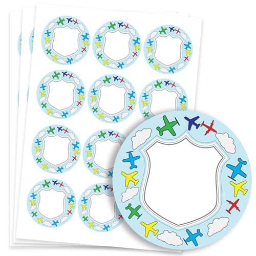 Planes Design 60mm Round Sticker sheet of 12