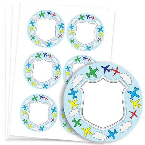 Planes Design 95mm Round Sticker sheet of 6