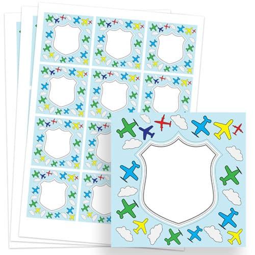 Planes Design 65mm Square Sticker sheet of 12