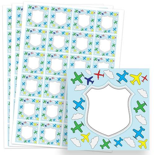 Planes Design 40mm Square Sticker sheet of 24