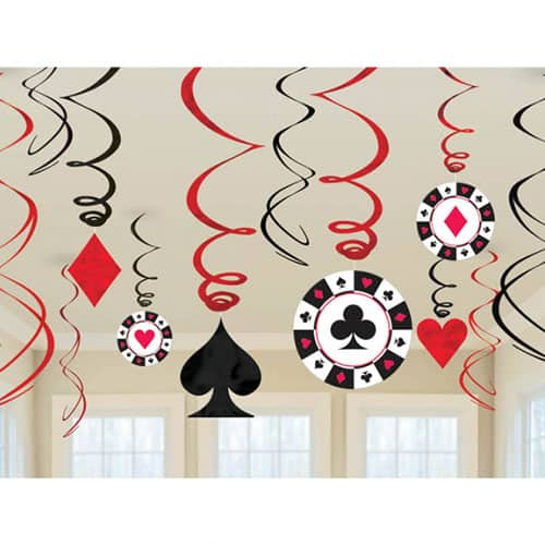 Casino Hanging Swirl Decoration Pack Of 12