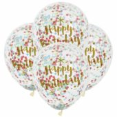 Clear Gold Happy Birthday Biodegradable Latex Balloons With Multi Colour Confetti Inside 30cm Pack Of