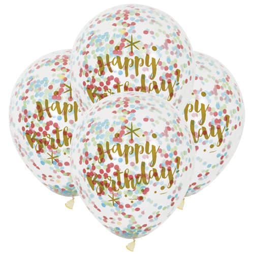 Clear Gold Happy Birthday Biodegradable Latex Balloons With Multi Colour Confetti Inside 30cm - Pack of 6