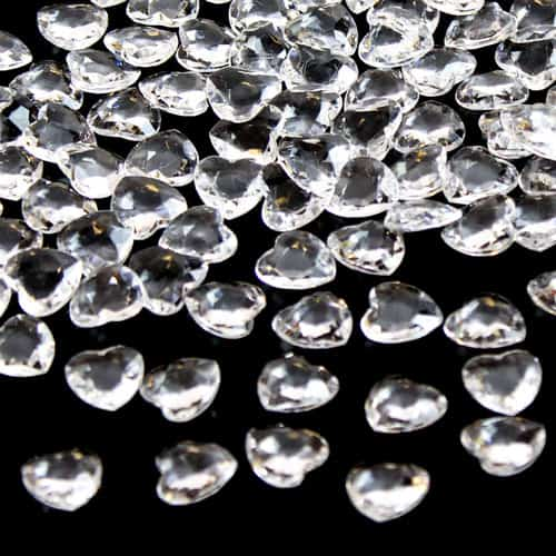 Clear 12mm Heart Diamonds Premium Table Gems 28g