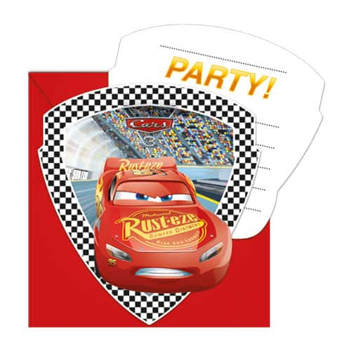 Disney Cars Invitations With Envelopes - Pack of 6