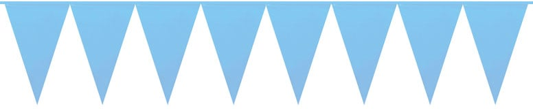 Giant Baby Blue Pennant Flag Bunting – 10m