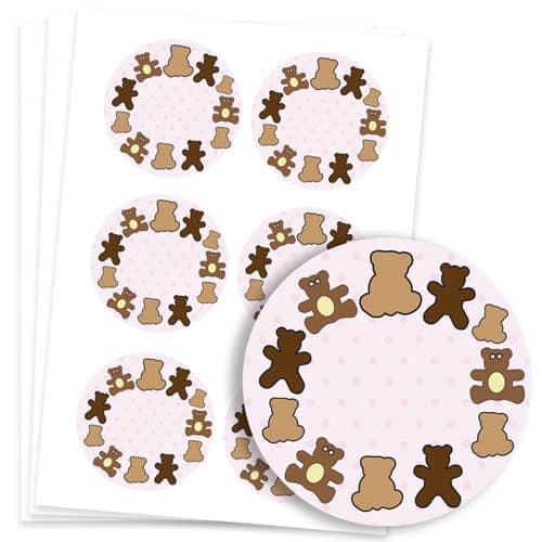 Dollies and Teddy Design 95mm Round Sticker sheet of 6