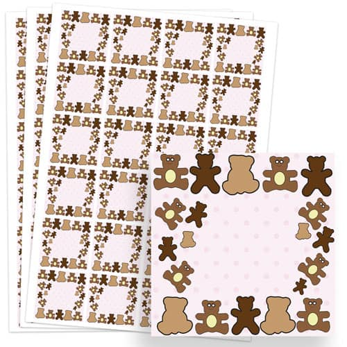 Dollies and Teddy Design 40mm Square Sticker sheet of 24
