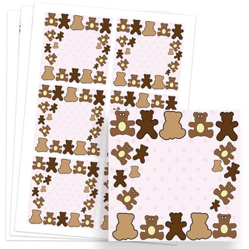 Dollies and Teddy Design 80mm Square Sticker sheet of 6