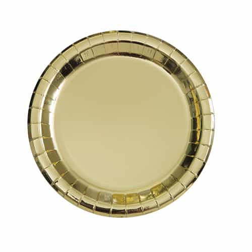 Gold Foil Round Paper Plates 17cm - Pack of 8