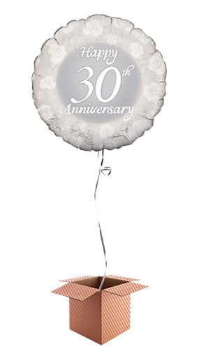 Happy 30th Anniversary Round Foil Balloon - Inflated Balloon in a Box