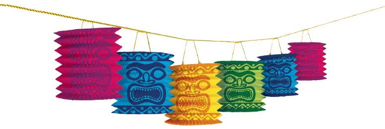 Hawaiian Tiki Island Paper Lantern Garland 360cm