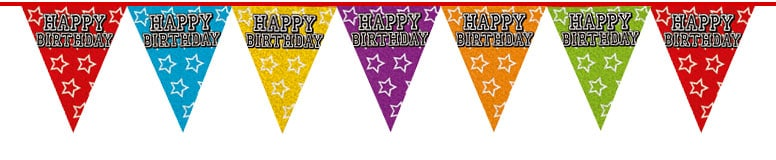 Holographic Happy Birthday Triangle Bunting - 8m