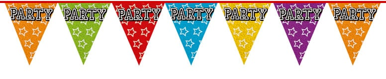 Holographic Party Triangle Bunting - 8m