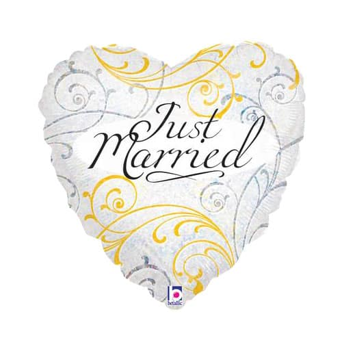 Just Married Heart Shape Foil Helium Balloon 46cm / 18Inch