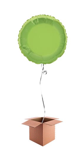 Lime Green Round Foil Balloon - Inflated Balloon in a Box Product Image