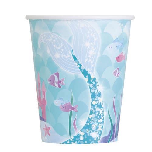 Mermaid Paper Cups 270ml - Pack of 8