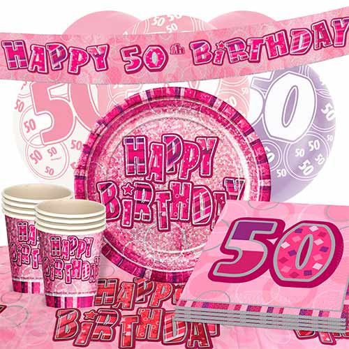 Pink Glitz 50th Birthday 16 Person Deluxe Party Pack