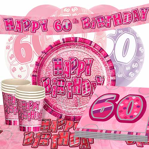 Pink Glitz 60th Birthday 16 Person Deluxe Party Pack
