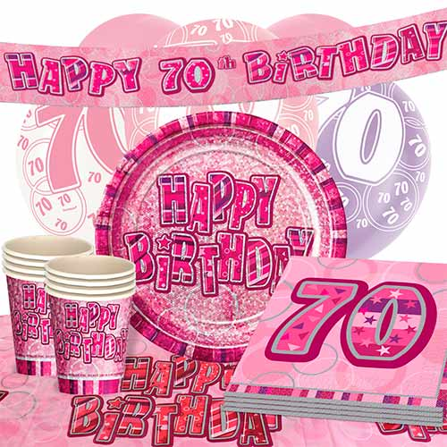 Pink Glitz 70th Birthday Party Supplies 16 Person