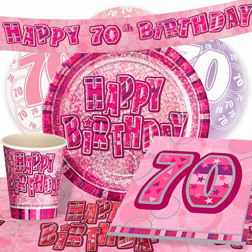 Pink Glitz 70th Birthday Party Supplies 8 Person