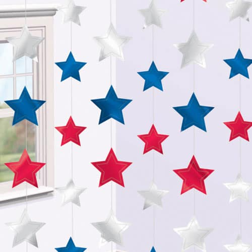 Red White And Blue Star Hanging String Decoration 210cm