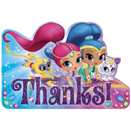 Shimmer And Shine Thank You Cards With Envelopes Pack Of 8