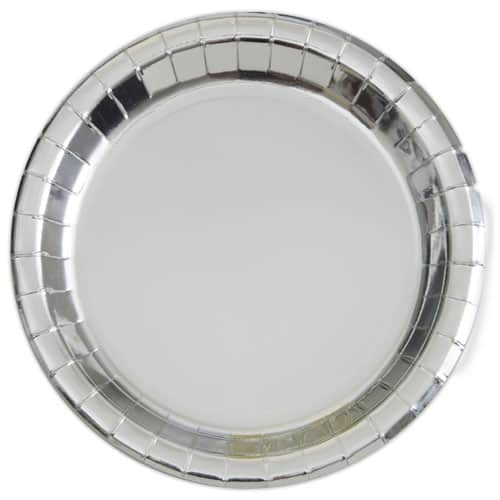 Silver Foil Round Paper Plates 22cm - Pack of 8