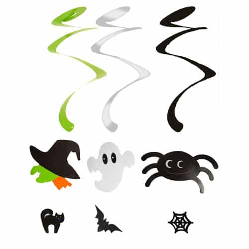 Spooky Halloween Hanging Spiral Decoration Pack Of 3