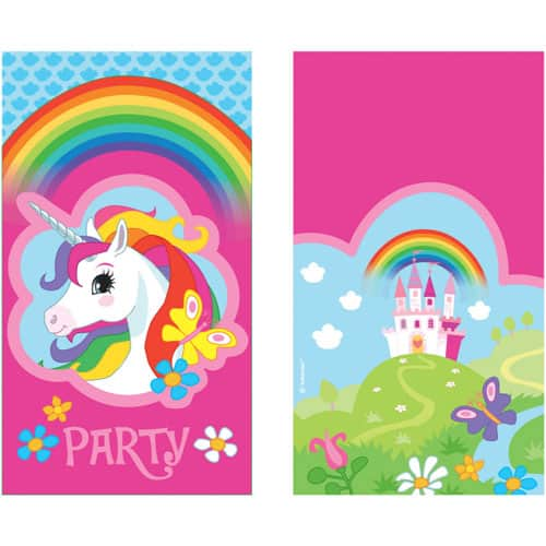 Unicorn Party Invitations With Envelopes - Pack of 8