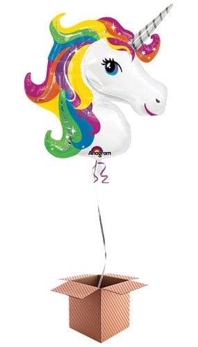 Unicorn Helium Foil Giant Balloon - Inflated Balloon in a Box