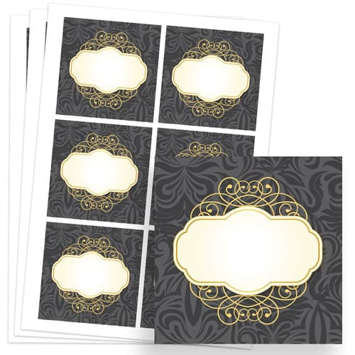 Pattern and Posh Design 80mm Square Sticker sheet of 6