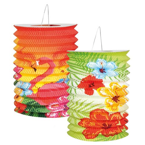 Aloha Themed Paper Lanterns 16cm Pack of 2