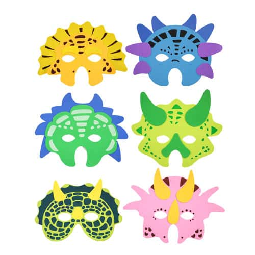 Assorted Dinosaur Foam Masks - Pack Of 6