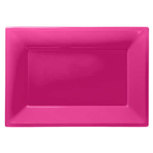 Bright Pink Rectangular Plastic Serving Tray - 23 x 33cm - Pack of 3