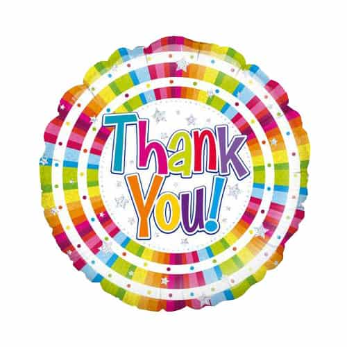 Bright Thank You Holographic Round Foil Helium Balloon 46cm / 18Inch