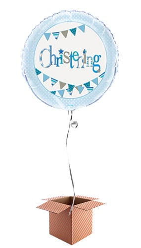 Christening Blue Foil Balloon - Inflated Balloon in a Box