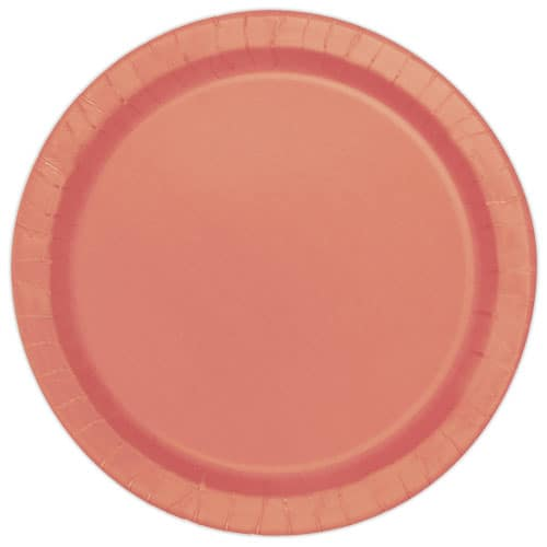 Coral Round Paper Plates 22cm - Pack of 16