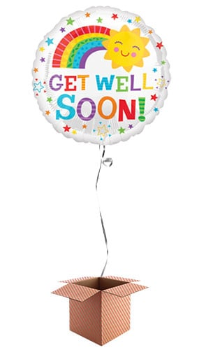 Get Well Soon Sun Round Foil Balloon - Inflated Balloon in a Box
