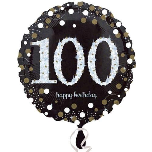 Gold Sparkling 100th Birthday Round Foil Helium Balloon 46cm / 18Inch